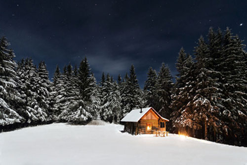 Snowy Cabin Under the Mistletoe